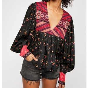 NWT FREE PEOPLE LADYLOU PRINT EMBROIDERED BLOUSE